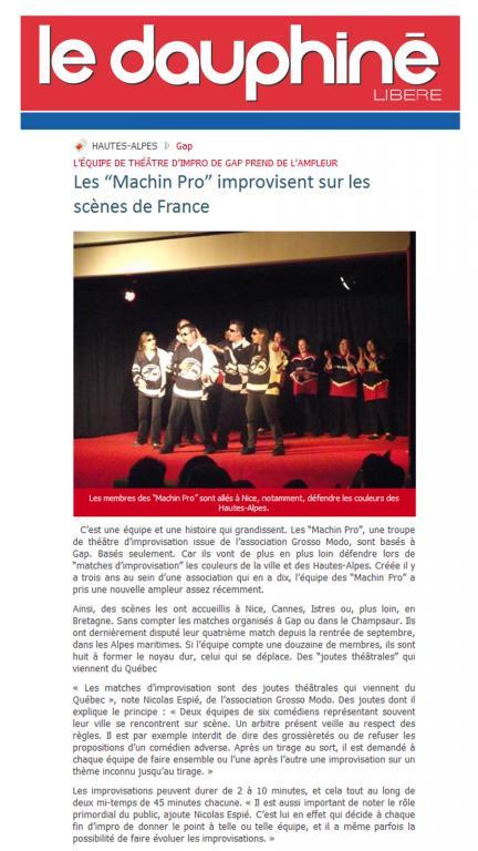Article Dauphiné libéré (Janvier 2011)