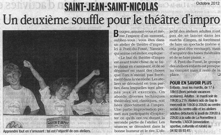 Articles ateliers Champsaur (Octobre 2012)
