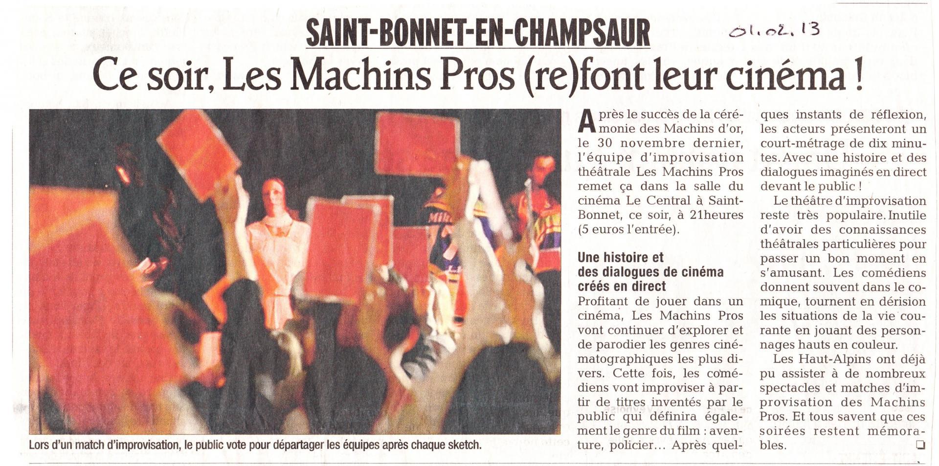 Article cinéma (1 février  2013)