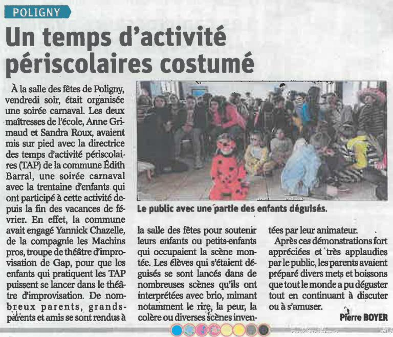 Article ateliers école Poligny (Avril 2019)